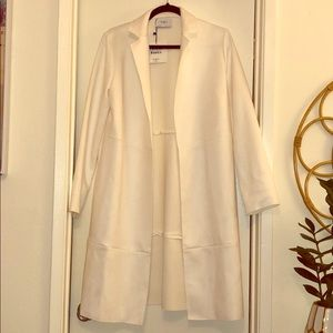 NWT ZARA White Perfect Winter Basics Suede Coat -S